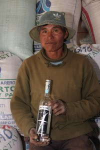 quinoa farmer with vodka