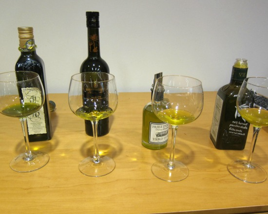 Olive oils, left to right: Badia a Coltibuono, Marques de Grinon, Château d'Estoublon and VEÁ