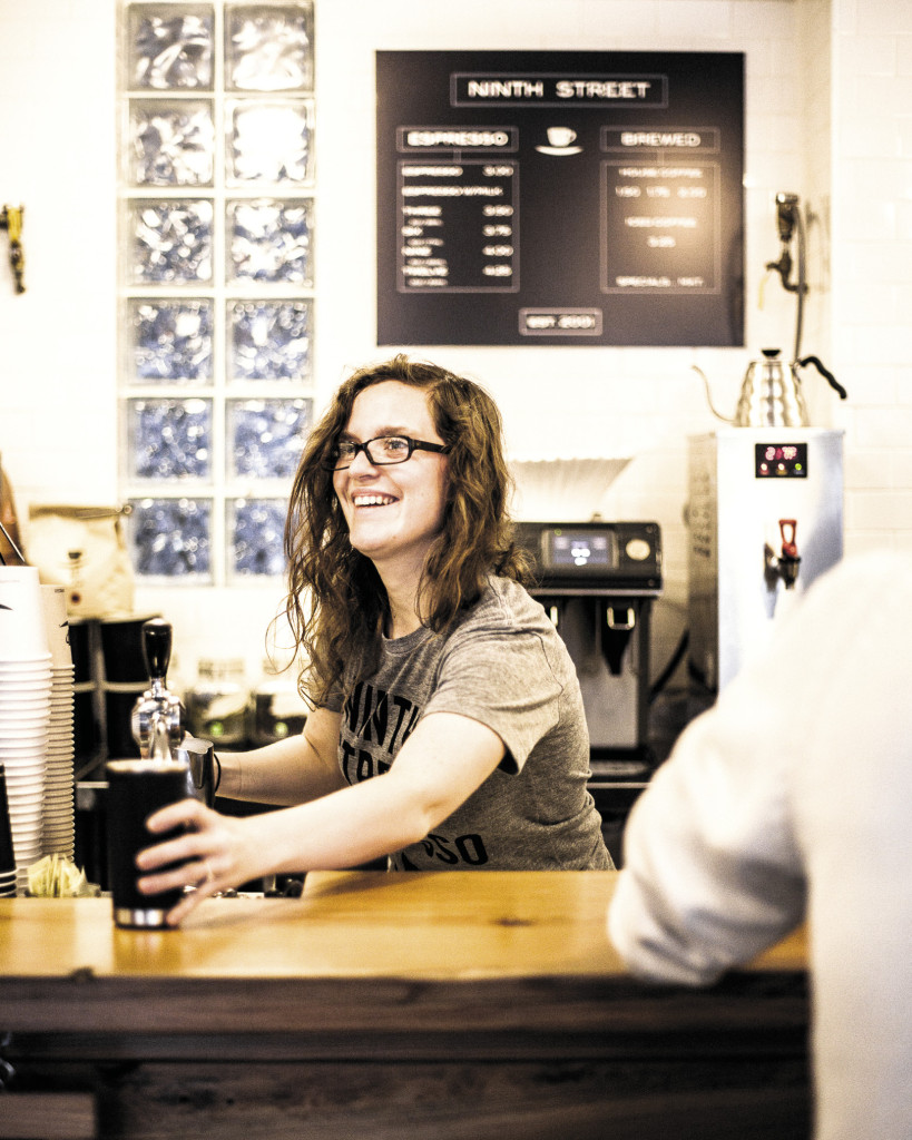 Revolution brewing: At places like Ninth Street Espresso, above left, and Stumptown Brew Bar, above, fourth-wave mentality brings more transparency and coffee theater, plus a fresh jolt of interaction between barista and brew seeker.