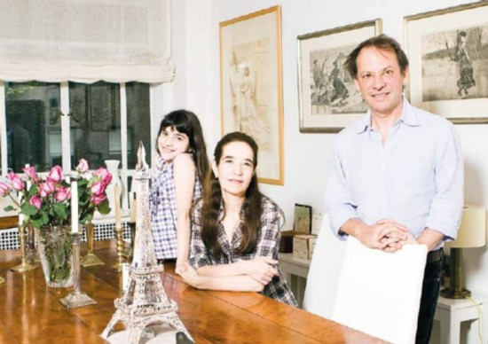 Kept by a croissant: Adam Gopnik at home with daughter Olivia and wife Martha Parker.