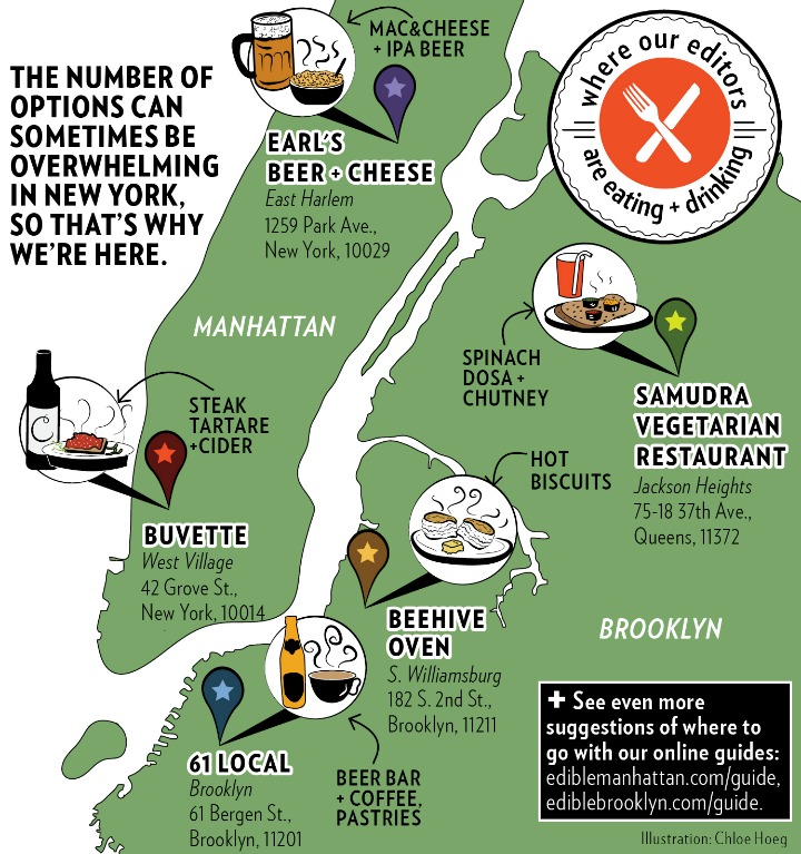Where Our Editors Are Eating - NYC Map illo - 4.9x4.9in-larger 300