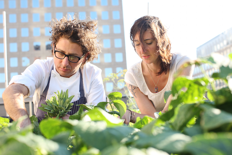 Kristen Schafenacker and Eric Korsh on the Rooftop Farm - Horizontal - credit Melissa Hom