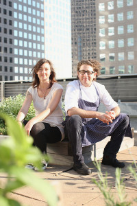 Kristen Schafenacker and Eric Korsh on the Rooftop Farm - Vertical - credit Melissa Hom