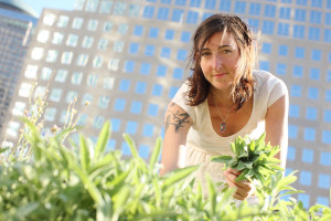 Kristen Schafenacker on the Rooftop Farm - credit Melissa Hom