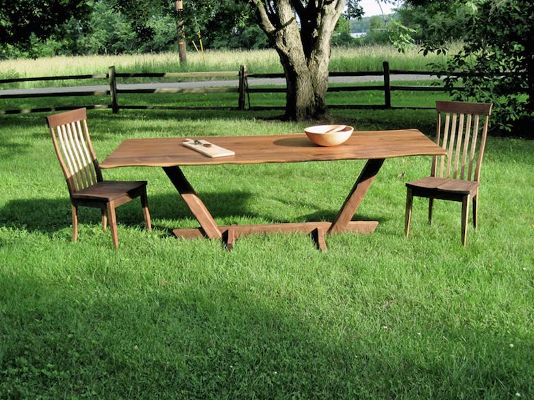 """Live Edge"" Black Walnut Dining Table available at Rockledge Farm. Photo credit/Rockledge Farm."